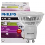 Philips LED-Reflektorlampe, MASTER LEDSpot Value, GU10/230V/3,7 W, 290 lm, 600 cd, 4000K, Länge 56, Ø 50