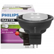 Philips LED-Reflektorlampe, MR16, MASTER LEDSPOT VALUE, GU5,3/12V/3,4W (20W), 225 lm, 3000K