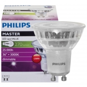 Philips LED-Reflektorlampe, MASTER LEDspot Value, GU10/230V/3,7W, Flood 36°, 260 lm, 500 cd, 3000K, Länge 54, Ø 50