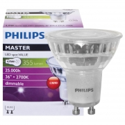 Philips LED-Reflektorlampe, MASTER LEDspot Value, GU10/230V/4,3W, Flood 40°, 355 lm, 2700K, 800 cd, Länge 55, Ø 50