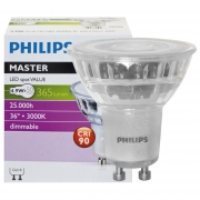 Philips LED-Reflektorlampe, MASTER LEDspot Value, GU10/230V/4,3W, Flood 40°, 375 lm, 3000K, 750 cd, Länge 56, Ø 50