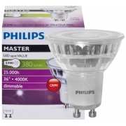Philips LED-Reflektorlampe, MASTER LEDspot Value, GU10/230V/4,3W, Flood 40°, 420 lm, 800 cd, 4000K, Länge 55, Ø 50