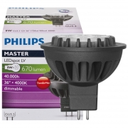 Philips LED-Reflektorlampe, MR16, MASTER LEDSPOT, GU5,3/12V, Abstrahlwinkel 36°