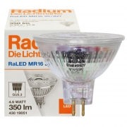 Radium LED-Reflektorlampe, RaLED MR16, GU5,3/12V/4,6W, MR16, Flood 36°, 350 lm, 950 cd, 2700K, Länge 53, Ø 51