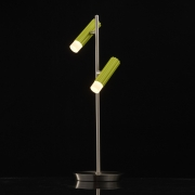 Mobile Preview: Tischleuchte Techno von De Markt satin Nickel Grün, Metall kaltes, Akryl2x5W LED COB 3000K LEDs installiert