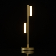 Tischleuchte Techno von DeMarkt matt brass metall frosted acrylic 2*5W LED 3000K
