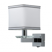 Wandleuchte Megapolis von MW-Light chrome, Metall white, fabric transparent, crystal 1x40W E14 2700K IP20 switch